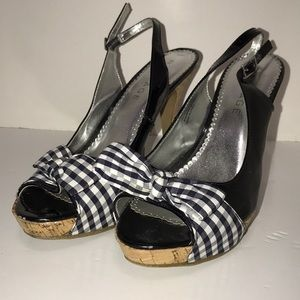 Rampage Open Toe Checkered Bow Sling Sandal Heels